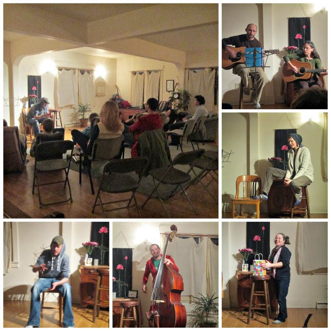 Open mic night at the Open Way Mindfulness Center, December 2014
